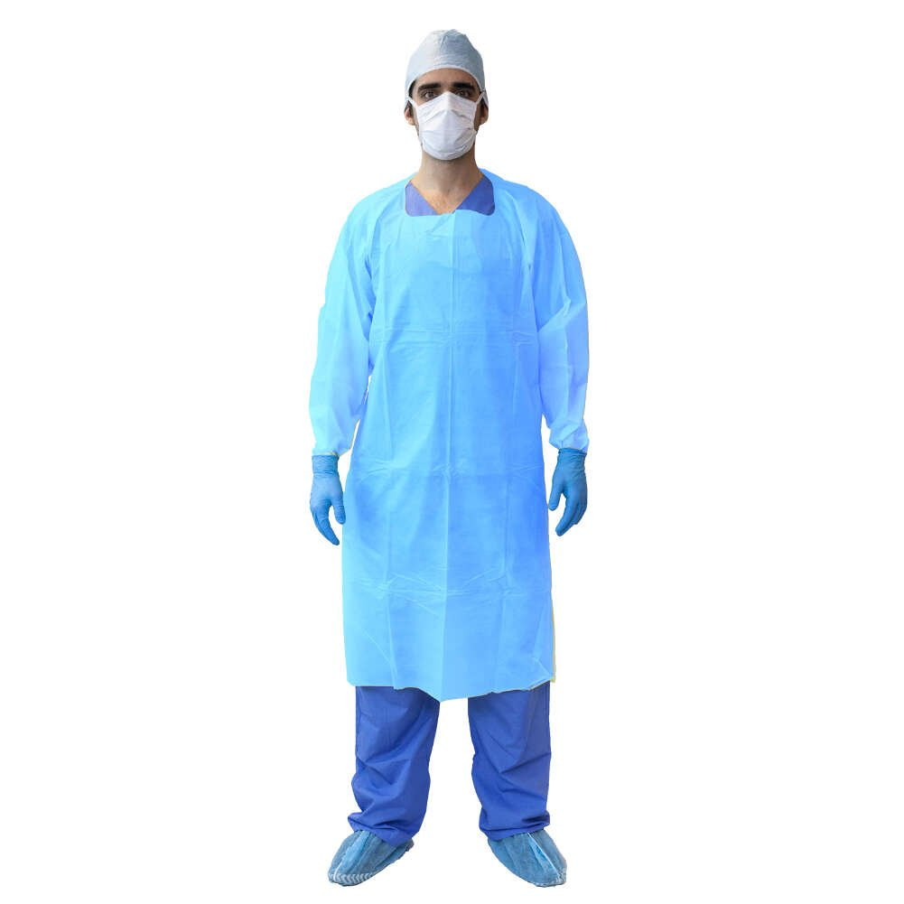 MediChoice Fluid Resistant Gowns, Open Back, Overhead, Thumbloop Cuff, Tie Waist, PSBPE, Universal, Blue (Bag of 10)