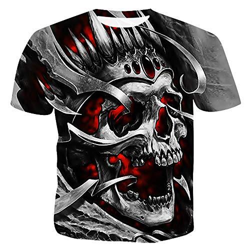 SLTX Men's The King Skull 3D Printing Short Sleeve Fashion T Shirt,Medium ()