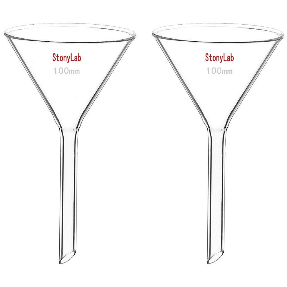 StonyLab Glass Funnel Borosilicate Glass Funnel, 100mm Diameter, 100mm Stem Length StonyLab Scientific