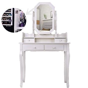 Miroir Ovale En Bois Blanc Et Miroir De Maquillage