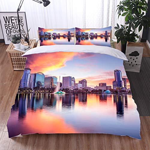 HOOMORE Single-Sided Pattern Custom Polyester Bed Cover - 3-Piece Duvet - All Seasons, depict - Orlando Florida Skyline-Queen