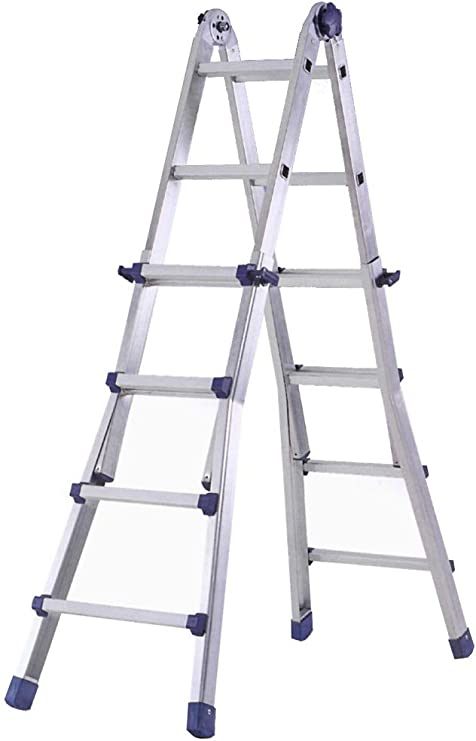 Marchetti 20031 - Escalera de aluminio extensible, escuadra, 6,4 m, 12 peldaños, gris: Amazon.es: Bricolaje y herramientas