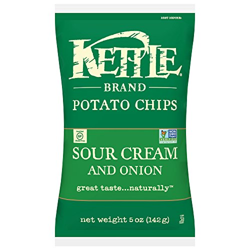 Kettle Brand Potato Chips, Sour Cream and Onion, 5 Ounce (Pack of 15) by Kettle Brand
