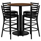 Flash Furniture 36'' Round Walnut Laminate Table Set with 4 Ladder Back Metal Barstools - Black Vinyl Seat