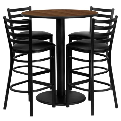 (36'' Round Walnut Laminate Table Set with 4 Ladder Back Metal Barstools - Black Vinyl Seat)