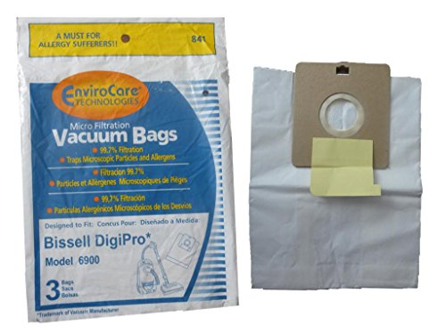 3 (1 Pkg) Type 32115 Bissell Digi-Pro Allergy Vacuum Cleaner Bags 6900 Series. Also substitute for LG Samsung VP-77F Vacuum Model 5500, 6013, 7049, and 7700 series Quiet Jet 7713VP