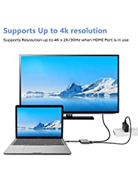 Adaptador USB C a HDMI, 321OU USB 3.1 tipo C a HDMI 4K multipuerto AV convertidor con puerto USB 3.0 y puerto de carga USB C compatible MacBook Chromebook Pixel Dell XPS13 Samsung Galaxy s8 s8 Plus