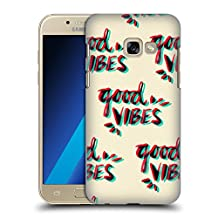 Official Cat Coquillette Good Vibes Red Cyan Quotes Typography 4 Hard Back Case for Samsung Galaxy A3 (2017)