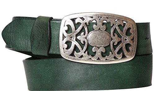FRONHOFER women´s belt floral buckle, flower buckle matt silver, genuine leather, Size:waist size 47.5 inch XXL EU 120 cm;Color:Green