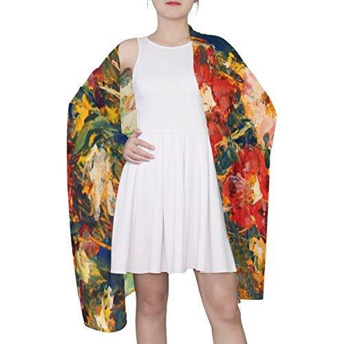della della Alaza donna sciarpa multicolore dell'olio floreale luce della di dell'annata pittura della Fiori ICq6RawR