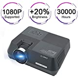 "Home Theater Mini Projector, Portable Home Entertainment Video Projector Support 1080P, USB/AV/SD/HDMI/VGA Interface Multimedia Home Theater LCD Projector Max 150""Screen"