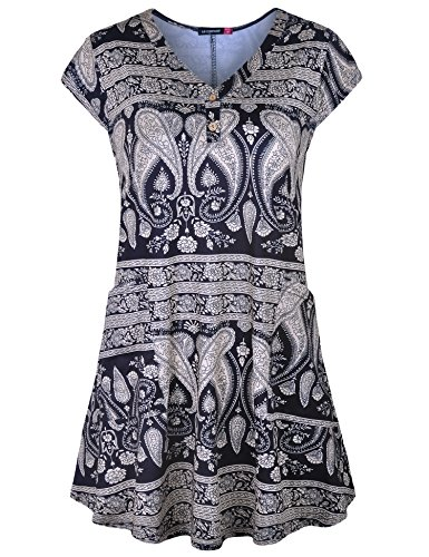 Le Vonfort Tunic Dress, Women Cap Sleeve V Neck with Pockets Casual Loose Fitting Tunics Flowy T Shirts Tops Paisley Black X-Large