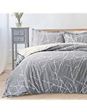 Bedsure Printed Duvet Cover Set King Size Grey & Ivory Branch Pattern 3 pcs with Zipper Closure + 2 Pillowcases - Ultra Soft Hypoallergenic Microfiber Quilt Cover Sets 230x220cm