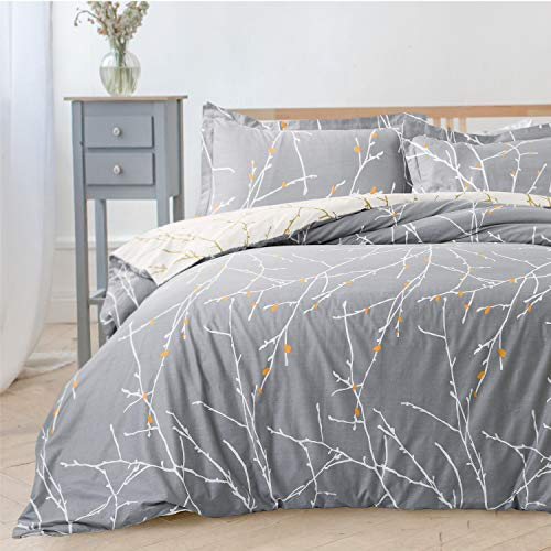 Bedsure Duvet Cover Set with Zipper Closure-Grey/Ivory Printed Pattern,Full/Queen (90