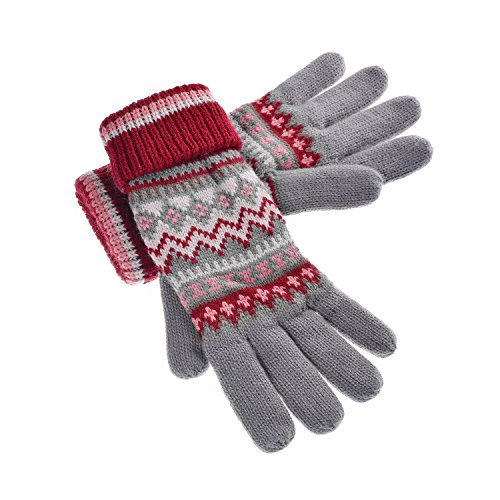 YAN & LEI Women's Waves and Diamonds Knitted Winter Gloves with Roll Up Cuffs Color Grey