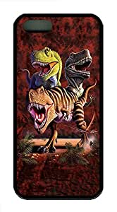 ICORER Slim iPhone 5S/5 Cover Rex Collage Dinosaur TPU Case Cover Protector for Apple iPhone 5 5S Black