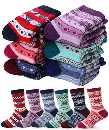 (Boys Girls Wool Socks Warm Thermal Thick Cotton Winter Crew Socks For Child Kid Toddlers 6 Pack (Snowflake, 8-12 Y))