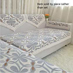 """Octorose Chenille Lace Sectional Sofa Throw Covers Furniture Protector Sold By Piece Rather Than Set (Grey, 35x35"""")"""