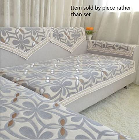 Octorose Chenille Lace Sectional Sofa Throw Covers Furniture Protector Sold By Piece Rather Than Set (Grey, (Sofa Chaise Cover)