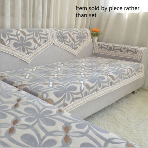 Octorose Chenille Lace Sectional Sofa Throw Pads Furniture Protector Sold By Piece Rather Than Set (Grey, 35x47')