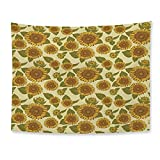 TecBillion Sunflower Decor Soft Tapestry Funky Style Sunflower in Pastel Colors Old Fashioned Nostalgic Vintage Art Print for Living Room Bedroom 78 W x 59 H