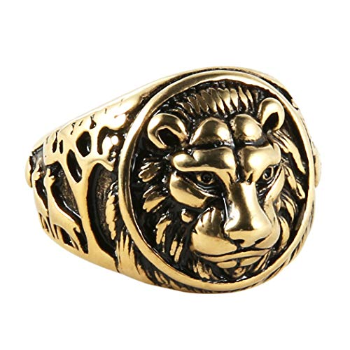 - HZMAN Men's Vintage Stainless Steel Ring Lion Head Shield Biker Gold/Silver