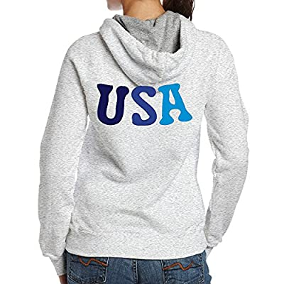 Women's USA Txt -3 100% Cotton Fashion Hoodies Ash