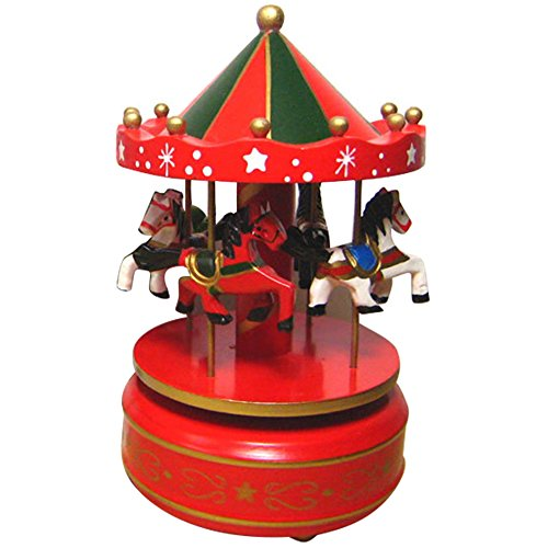 Musical Horses Carousel - Kangkang@ Classic Carousel Horses Rotating Music Musical Box Castle in the Sky Melody Home Decoration Kid Children Holiday Birthday Gift