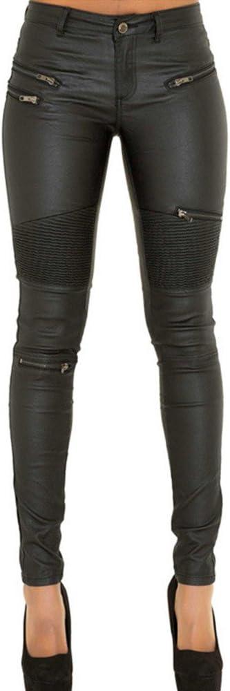 pies Pantalones de Cremallera Mujer Cuero Tela Vaquera Costura Multi-Cremallera Pantalones de Cuero de Las señoras Pantalones