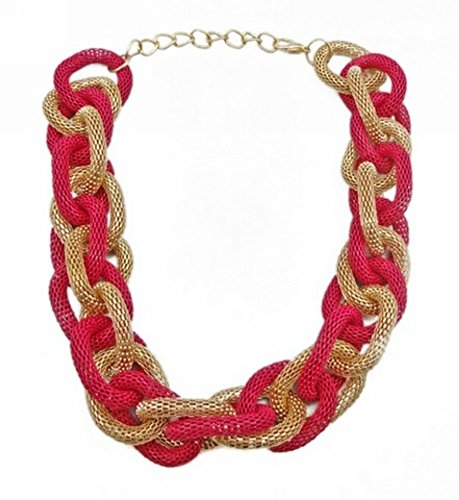 Wiipu red Chunky Metal Mesh Braided Snake Chain Bib Statement Necklace(wp-35)
