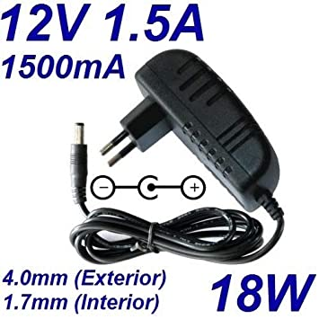 Cargador Corriente 12V 1.5A 1500mA 4.0mm 1.7mm 18W: Amazon ...