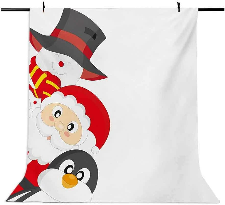 10x15 FT Backdrop Photographers,Friendly Happy Santa Claus Penguin Snowman Festive Holiday Design Background for Kid Baby Boy Girl Artistic Portrait Photo Shoot Studio Props Video Drape Vinyl