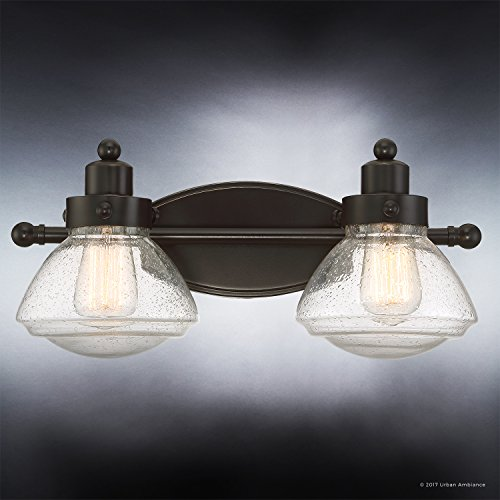 Luxury Transitional Bathroom Vanity Light, Medium Size: 8''H x 17.75''W, with Rustic Style Elements, Oil Rubbed Parisian Bronze Finish and Seeded Schoolhouse Glass, UQL2651 by Urban Ambiance by Urban Ambiance (Image #4)