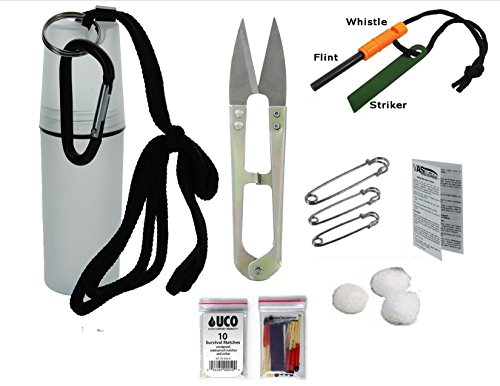 VAS Black Ops Water Proof Camping Survival Tote Survival Essentials & Fire Kit | Flint Rod Fire Starter | Emergency Whistle | UCO Survival Matches | Cotton Balls | Survival Scissors | Safety Pins by VAS First Response