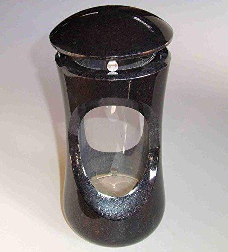 designgrab Design small Grablampe mit Vase aus Granit Schwedisch Black SS1 schwarz Grabschmuckset