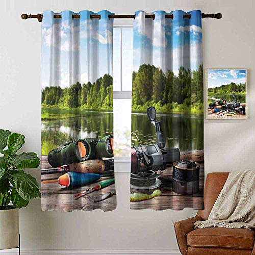 petpany Customized Curtains Hunting Decor,Fishing Tackle on a Pontoon Lake in The Woods Trees Greenery Freshwater Hob,Multicolor,Blackout Thermal Insulated,Grommet Curtain Panel 1 Pair 42