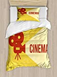 Ambesonne Movie Theater Twin Size Duvet Cover Set, Projector Silhouette with Cinema Quote Movie Symbols Background, Decorative 2 Piece Bedding Set with 1 Pillow Sham, Dark Coral Beige Yellow