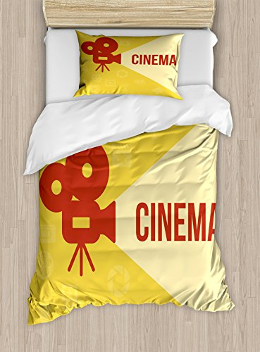 Ambesonne Movie Theater Twin Size Duvet Cover Set, Projector Silhouette with Cinema Quote Movie Symbols Background, Decorative 2 Piece Bedding Set with 1 Pillow Sham, Dark Coral Beige Yellow by Ambesonne