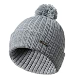 Hibye Unisex Winter Knitted Hat, Solid Color Crochet Hairball Beanie Cap Pompom Ski Cap