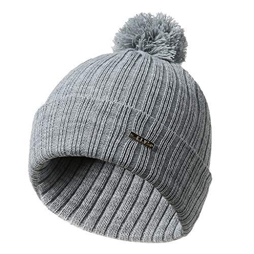 e9830ea880e linlin Mens Womens Big Pompom Ball Knitted Hats Winter Beanie Skullies Ski  Cap Soft Light Gray