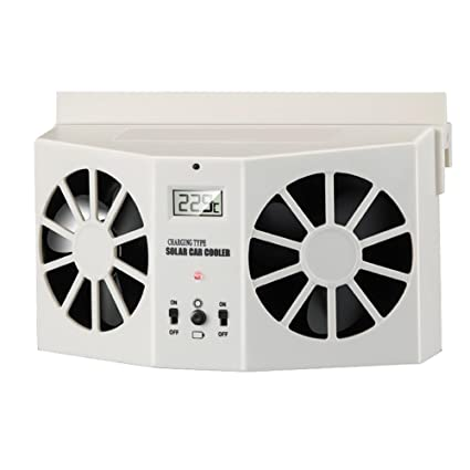 KOBWA Dual Car Window Fan, Solar U0026 Battery Powered Auto Temperature Control  Air Vent Cooling