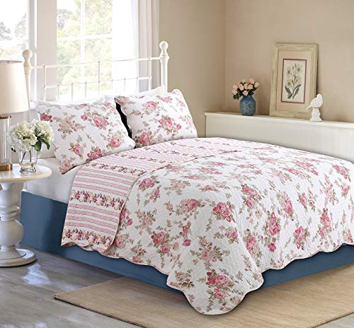 Cozy Line Home Fashions Floral Peony Quilt Bedding Set, Shabby Chic Pink Ivory Flower Printed 100% Cotton Reversible Coverlet Bedspread Romantic Gifts for Women Girl (Pink,Queen - 3 Piece) from Cozy Line Home Fashions