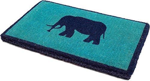 Handwoven, Extra Thick Doormat   Entryway Door mat for Patio, Front Door   Decorative All-Season   Lucky Elephant   18