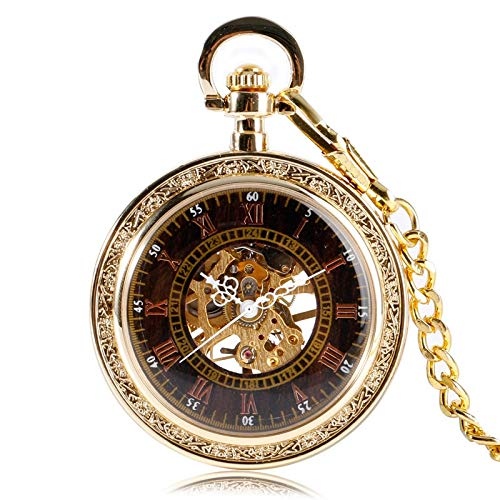 - DYH&PW Watches Classic Antique Style Golden Mechanical Pocket Watch