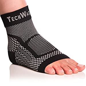 Tech Ware Pro Foot Brace Compression Sleeve - Relieves Achilles Tendonitis, Joint Pain. Plantar Fasciitis Foot Sock with Ankle Support Reduces Swelling & Heel Spur Pain.