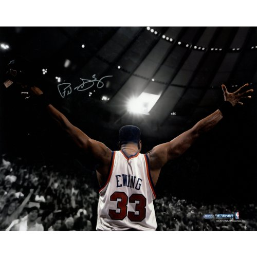 NBA New York Knicks Patrick Ewing Signed Arms Out Facing Crowd Photograph, 16'' x 20'' by Steiner Sports