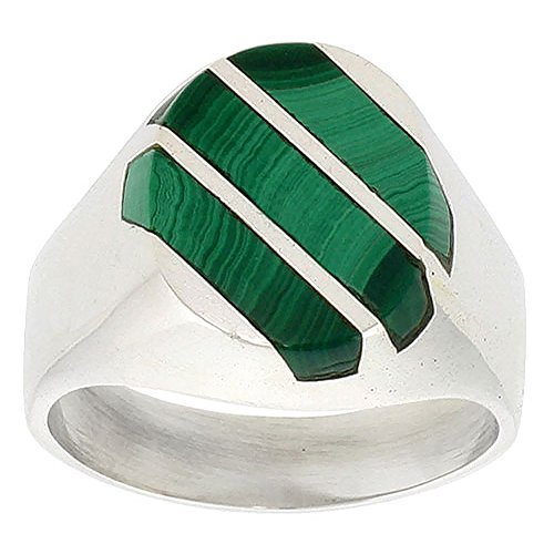Sterling Silver Stripe Malachite - Sterling Silver Malachite Ring for Men Large Oval 3 Stripe Diagonal Solid Back Handmade, size 10