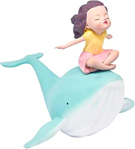 LYART Healing Statue Girl and Whale Figurine Resin Sculpture Giftbox Sea Animal Decor Crafts Dolls Home Ornament Gift Office Decoration Birthday Children's Day Gift(8.5L)