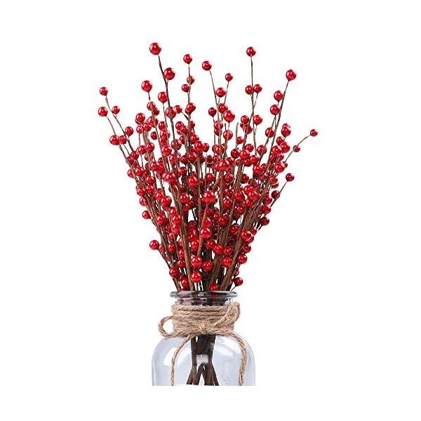 HOLICOLOR 10Pcs Red Berry Flower Arrangements, Artificial Berry Spray Flower Arrangement, for DIY Crafts