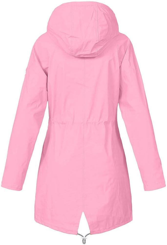 Limsea Womens Rain Jacket Lightweight Packable Outdoor Coat Windproof Hoodies Drawstring Button Pokets